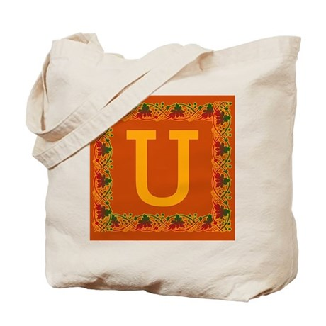 Autumn Colors and Fall Leaves Initial U Tote Bag