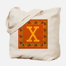 Autumn Colors and Fall Leaves Initial X Tote Bag