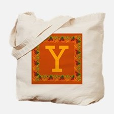 Autumn Colors and Fall Leaves Initial Y Tote Bag