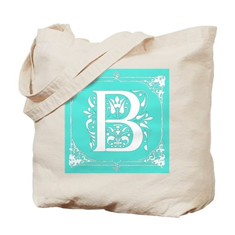 Fancy Border Seafoam Green Initial B Tote Bag