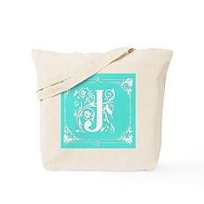 Fancy Border Seafoam Green Initial J Tote Bag