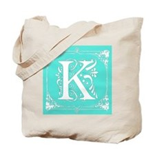 Fancy Border Seafoam Green Initial K Tote Bag