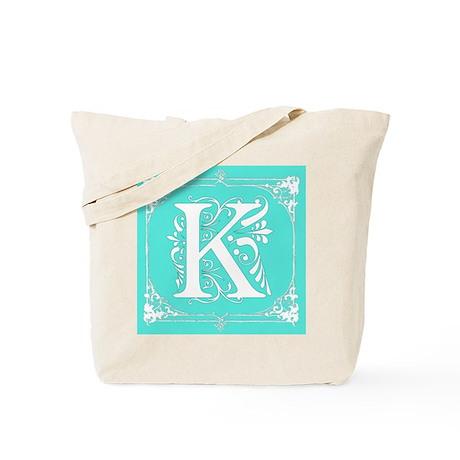 Fancy Border Seafoam Green Initial K Tote Bag