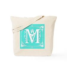 Fancy Border Seafoam Green Initial M Tote Bag