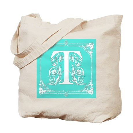 Fancy Border Seafoam Green Letter T Tote Bag by scarebaby