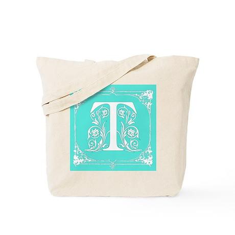 Fancy Border Seafoam Green Letter T Tote Bag by scarebaby