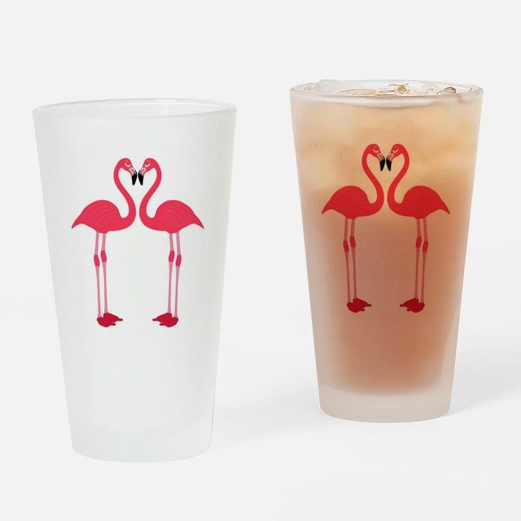 Pink Love Flamingos Drinking Glass