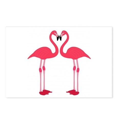 Pink Love Flamingos Postcards (Package of 8)