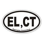 East Lyme Connecticutt EL,CT Euro Oval Sticker