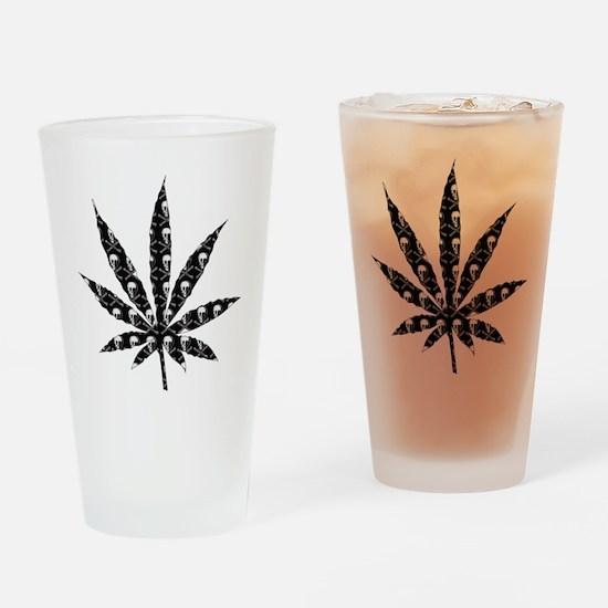 Skull Marijuana Leaf Drinking Glass