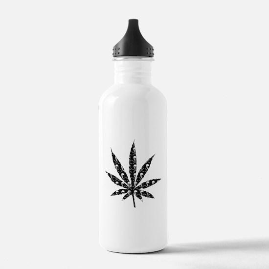 Skull Marijuana Leaf Sports Water Bottle