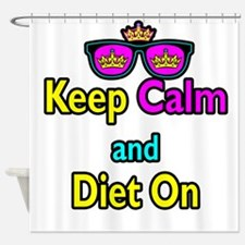 Crown Sunglasses Keep Calm And Diet On Shower Curt