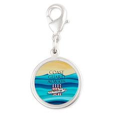 Coast Guard Always Silver Round Charm