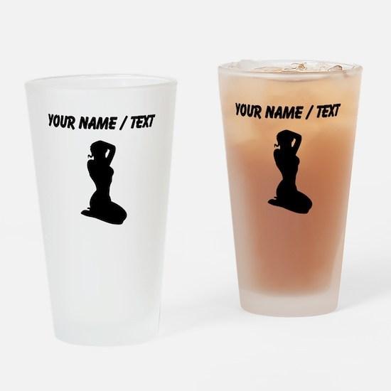Custom Pin Up Girl Silhouette Drinking Glass
