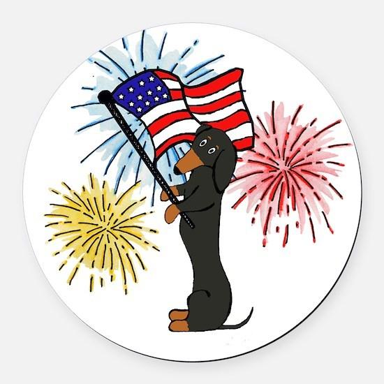 Dachshund Patriotic Black and Tan Round Car Magnet