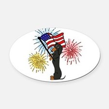 Dachshund Patriotic Black and Tan Oval Car Magnet