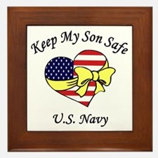 Navy Mom & Dad Keep My Son Safe Framed Tile