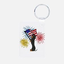 Dachshund Patriotic Black and Tan Keychains