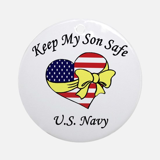 Navy Mom & Dad Keep My Son Safe Ornament (Round)