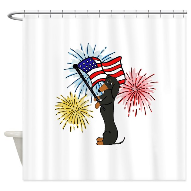 Dachshund patriotic black and tan shower curtain by thedachshundshop