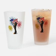 Dachshund Patriotic Black and Tan Drinking Glass