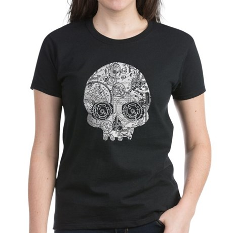 Clockwork Skull Women's Dark T-Shirt