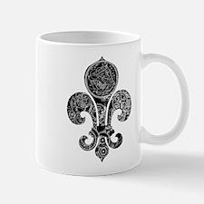 Grey Clockwork Fleur De Lis Mug