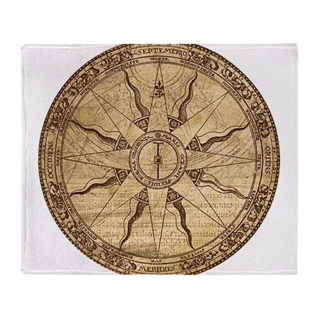 Old Compass Rose Throw Blanket