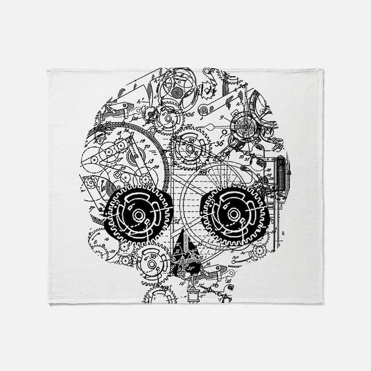 Clockwork Skull Throw Blanket
