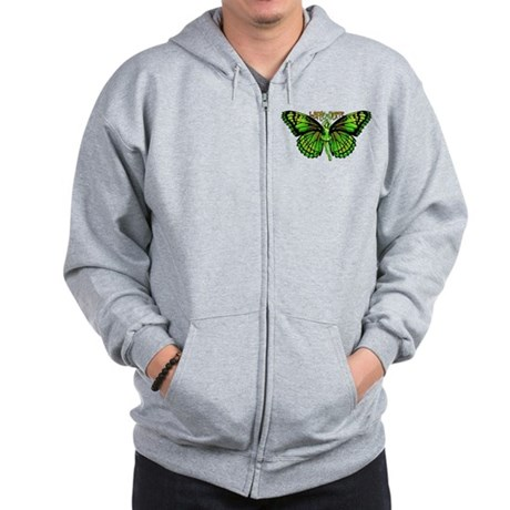 Green Fairy Wings Spread Zip Hoodie