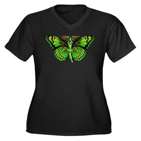 Green Fairy Wings Spread Women's Plus Size V-Neck