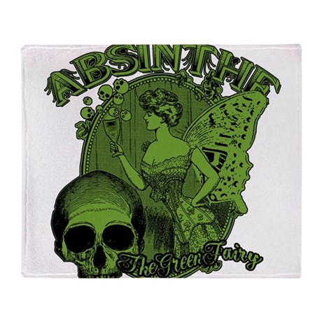 Absinthe Green Fairy Lady Collage Throw Blanket