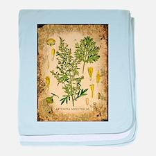Absinthe Botanical Illustration baby blanket