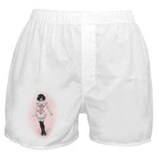 Woman In Pink Corset Boxer Shorts