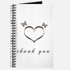 Cute Gold Heart Thank you Journal