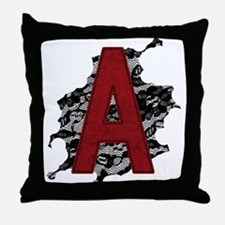 Black Lace Scarlet Letter A Throw Pillow