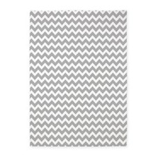 Light Gray Chevrons Zigzag Pattern 5'x7'Area Rug