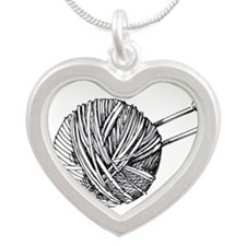 Minimalistic Knit Silver Heart Necklace