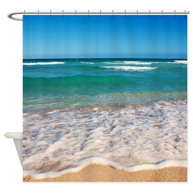 tropical beach shower curtain by carsten reisinger