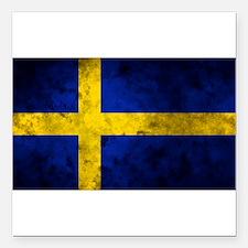 "Swedish Flag Square Car Magnet 3"" x 3"""