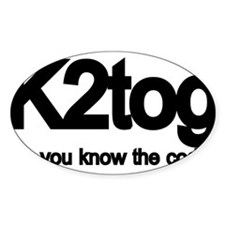 K2tog Knit Together Rectangle Decal