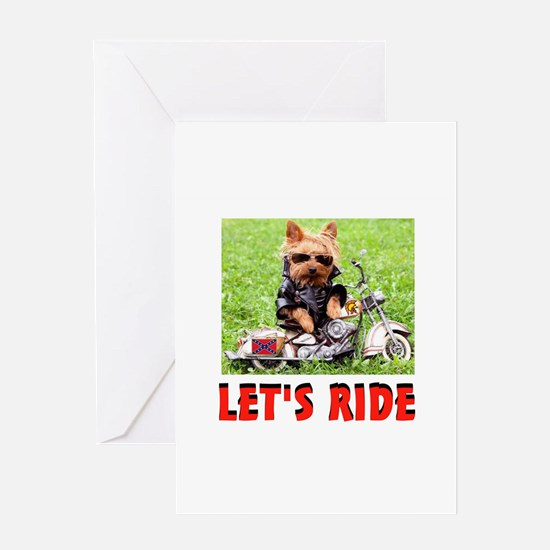 YORKIE BIKER Greeting Card