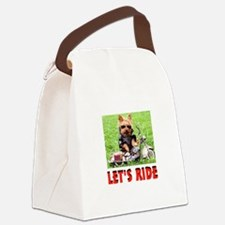 YORKIE BIKER Canvas Lunch Bag