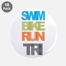 """SWIM BIKE RUN TRI 3.5"""" Button (10 pack)"""