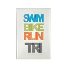 SWIM BIKE RUN TRI Rectangle Magnet (100 pack)