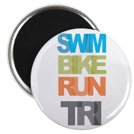 "SWIM BIKE RUN TRI 2.25"" Magnet (10 pack)"