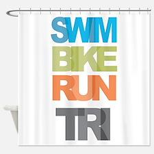 SWIM BIKE RUN TRI Shower Curtain