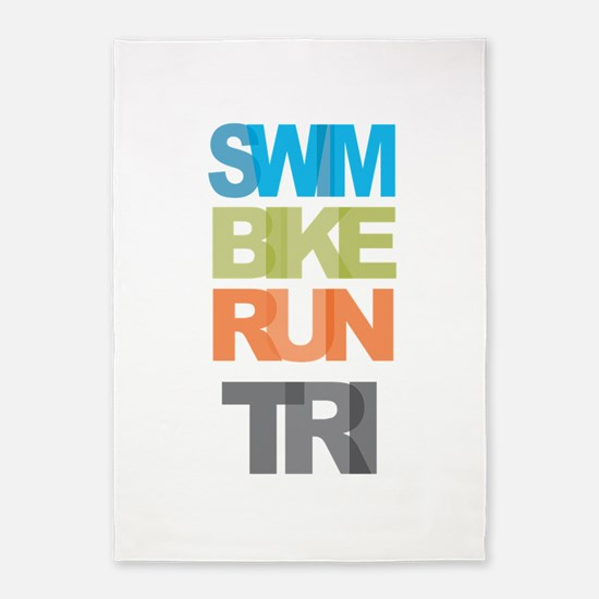 SWIM BIKE RUN TRI 5'x7'Area Rug