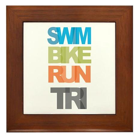SWIM BIKE RUN TRI Framed Tile