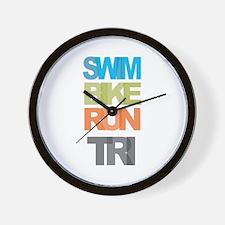 SWIM BIKE RUN TRI Wall Clock